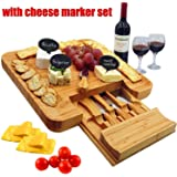 Bamboo Cheese Board & Cutlery Set with Slide-Out Drawer, 4 Piece Stainless Steel Knife, Charcuterie Plate & Serving Tray of Wine, Crackers. Includes 3 Label & Chalk, Fancy Wedding & House Warming Gift
