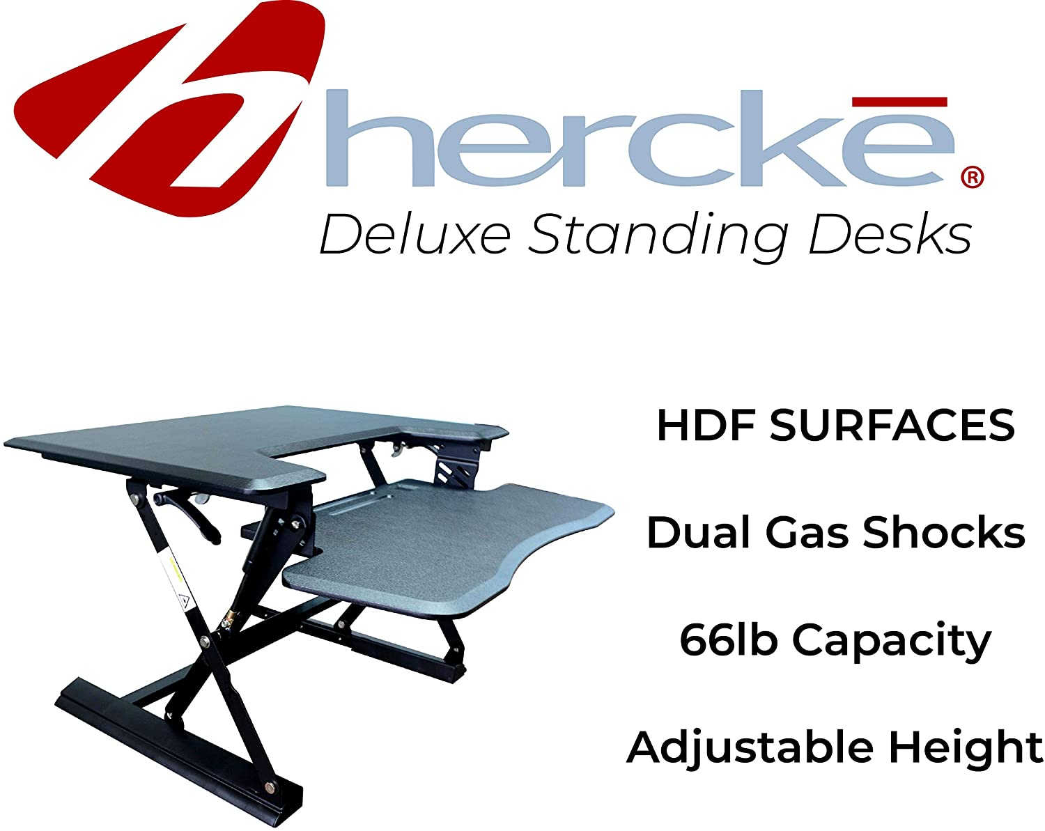 Hercke HDF Premium Standing Office Desk Height Adjustable 31 Wide Computer Desk with Easy-Action Levers High Density Fiberboard Black 50 lb Weight Capacity