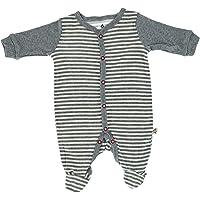 Snugabye Infant Striped Footed Sleeper, 3-6 Months, Grey