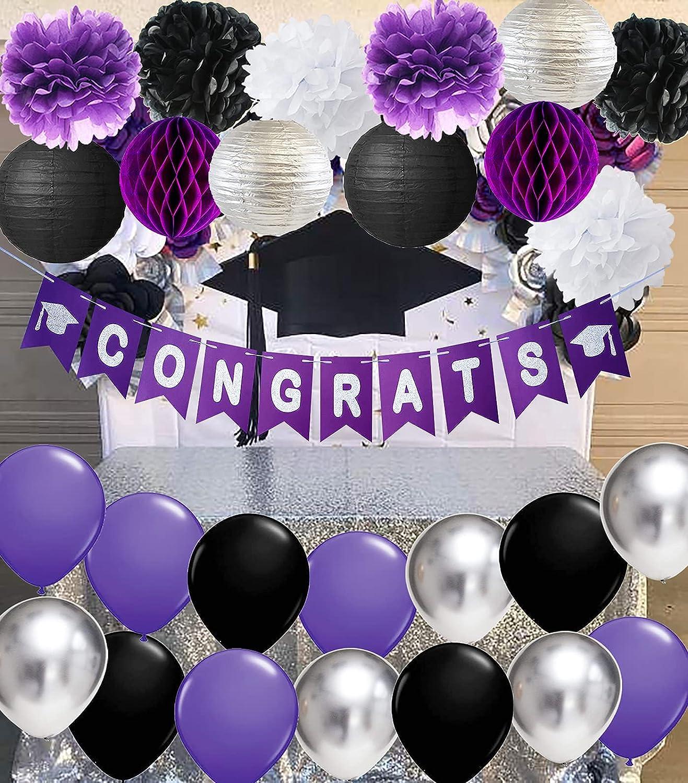 Graduation Decorations 2021 Purple Black Silver Purple Grad Purple Silver Black Balloon Congrats Banner 2021 Purple Graduation Party Supplies