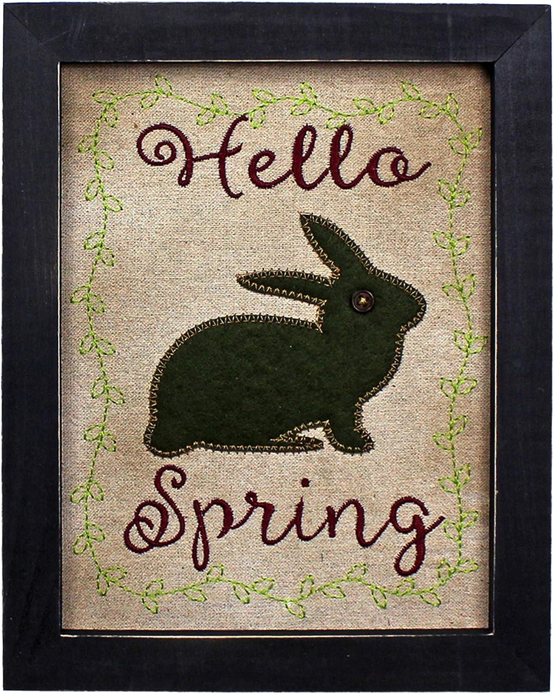 CVHOMEDECO. Primitives Vintage Hello, Spring Stitchery Frame Wall Mounted Hanging Decor Art, 8 x 10 Inch