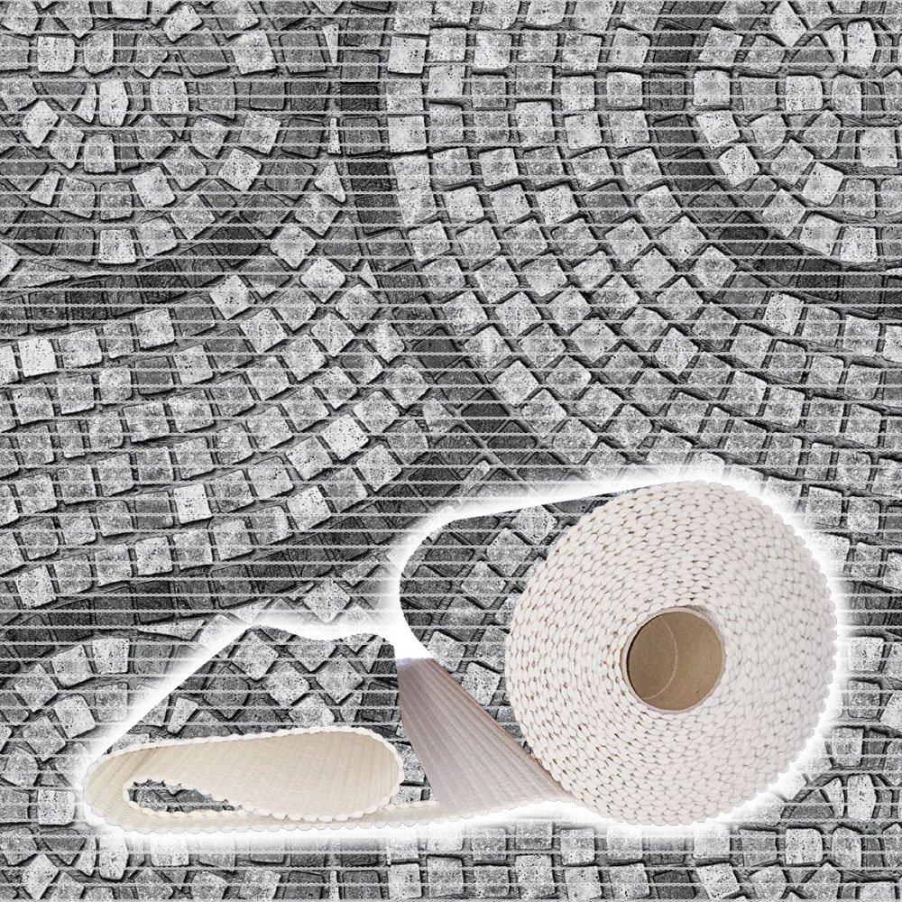 ANRO Weichschaummatte Badvorleger Bodenbelag Badläufer Antirutsch 130x600cm Mosaik Steine Grau