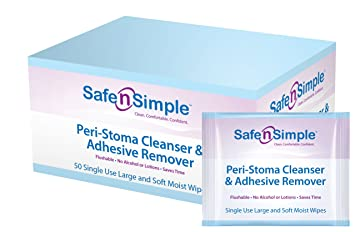 Safe N Simple Peri-Stoma Adhesive Remover Wipe,No-Sting Cleanser-Pack of 5 FDIT Fashion 3D Double Face Brush Face Cleansing Brush Exfoliating Grease Removal Massage Tool ,Face Brush, Exfoliating Face Brush