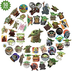 Baby Yoda Cute Stickers for Water Bottles 50 PCS,The Mandalorian Star Wars Vinyl Stickers Decal for Hydro Flask, Laptop,Skateboard,MacBook