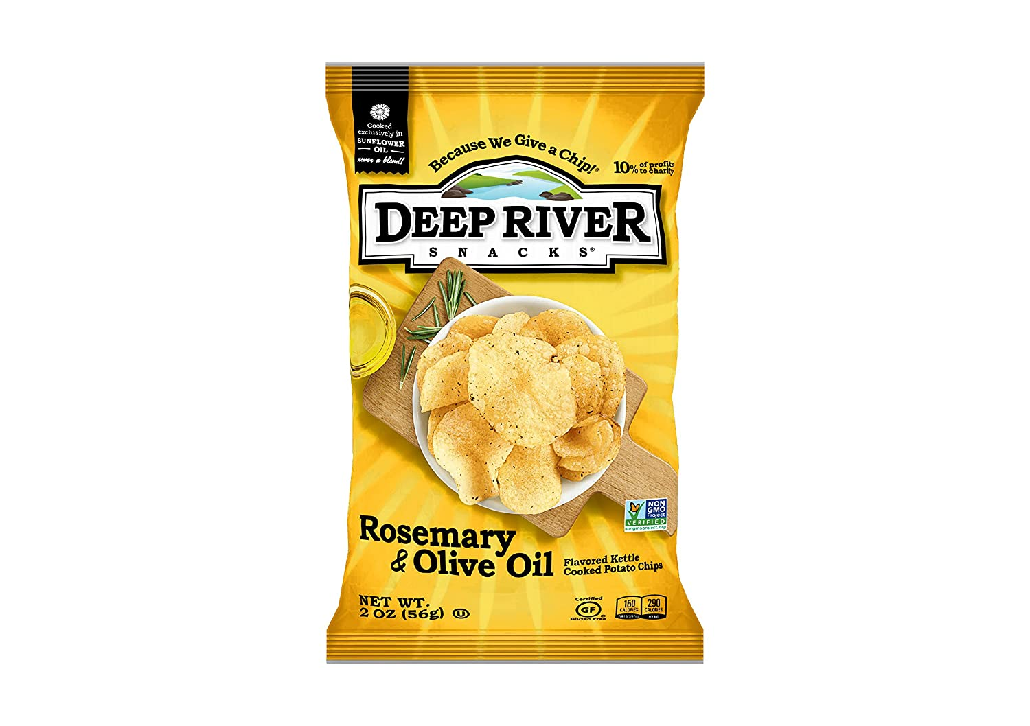 Deep River Snacks Kettle Chips, Rosemary & Olive Oil, 2-Ounce Bags (Pack of 24)