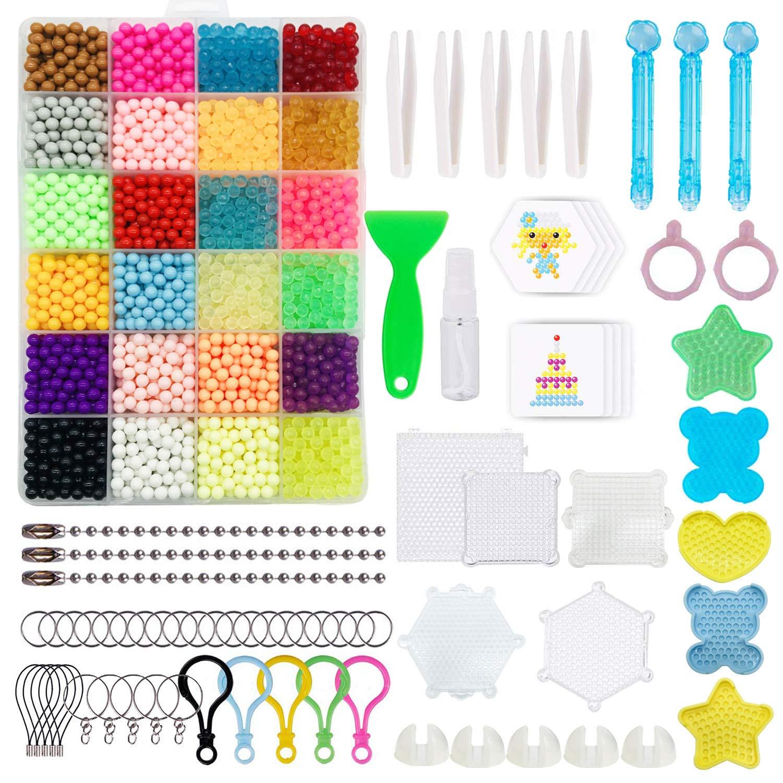 Allazone Abalorios Cuentas de Agua 24 Colores 3200 Perlas Kit DIY Manualidades Juguetes y Varias Herramientas de Producci/ón para para Ni/ños Paquete de Actividades para Principiantes
