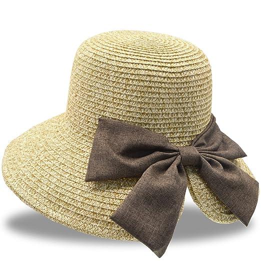 6e66a9eca7cf6 Stynice Beach Hats for Women Big Bowknot Straw Beach Hat Straw Sun Hat Wide  Brim Fedora