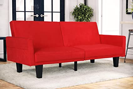 Amazon.com: Red Split Back Futon Couch with Pockets, Living ...
