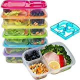 Bento Lunch Box, Meal Prep Containers Set (6) with Lids/Easy 3-Compartment BPA Free Plastic for Kids and Adults, Environment Friendly - Reusable Tupperware - Microwave, Freezer and Dishwasher Safe