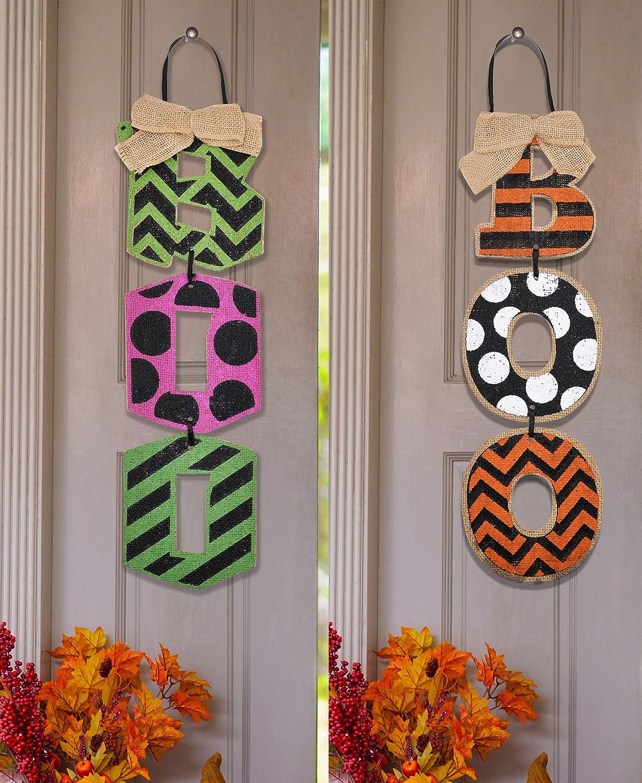 JOYIN 2 Halloween Spooky Boo Trick or Treat Door Triple Signs Party Decorations for Doors, Walls Hanging Decor, Halloween Festivities