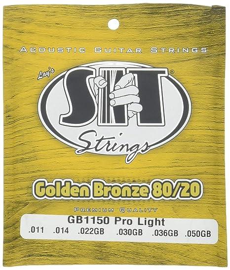 SIT GB1150 - Juego de cuerdas para guitarra acústica y guitarra eléctrica de bronce y dorado