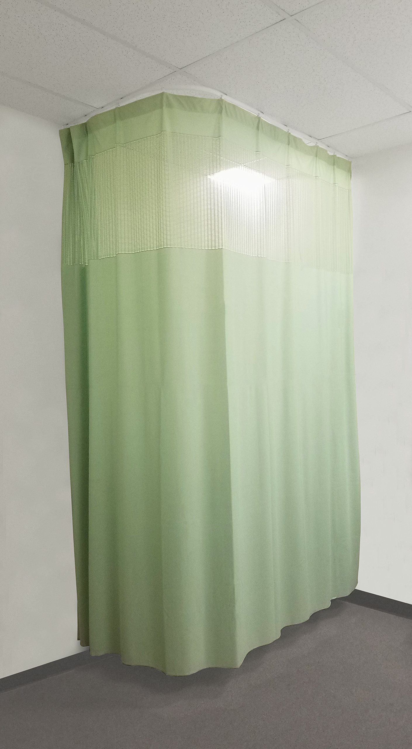 16Ft Medical Privacy Flexible Curtains High Ceiling Hospital Lab Clinic Curved Room Decorative w/ Track- 10ft High (Green)