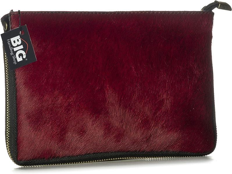 Big Handbag Shop Small Genuine Leather with Calf Fur Zip Clutch Shoulder Bag  (V-145-S Dark Red)  Handbags  Amazon.com 9a0abfb75c