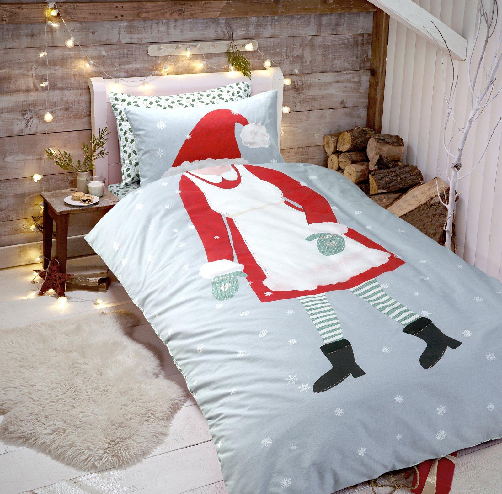 Christmas Duvet Cover Quilt Bedding Set Reversible Xmas Single Double King Size