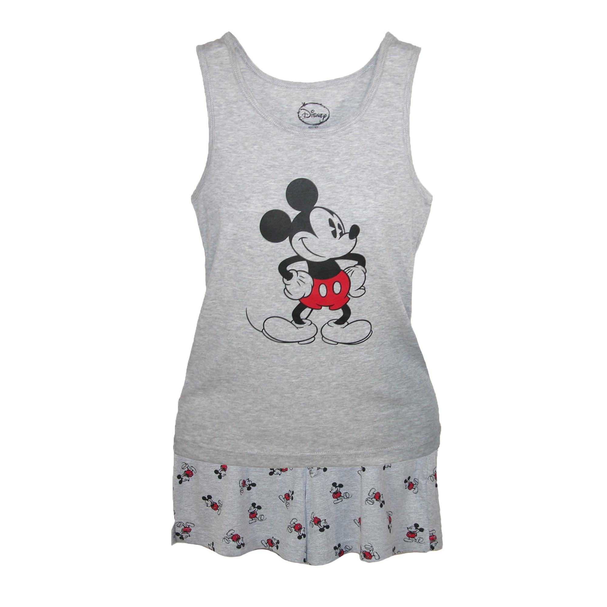 Disney Mickey Mouse Tank and Shorts Pajama Set, Large, Grey