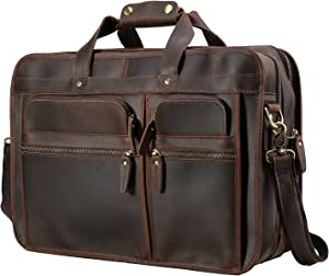 """Polare Modern Messenger Bag for Men 17"""" Full Grain Leather Business Laptop Briefcase With Premium YKK Zippers"""