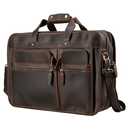 f26024ba9db0 Image Unavailable. Image not available for. Color  Polare Men s 17 quot  Full  Grain Leather Messenger Bag for Laptop Briefcase Tote