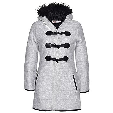 1ff4e9267675 Kids Coat Girls Fleece Padded Parka Jacket Long Faux Fur Hooded ...