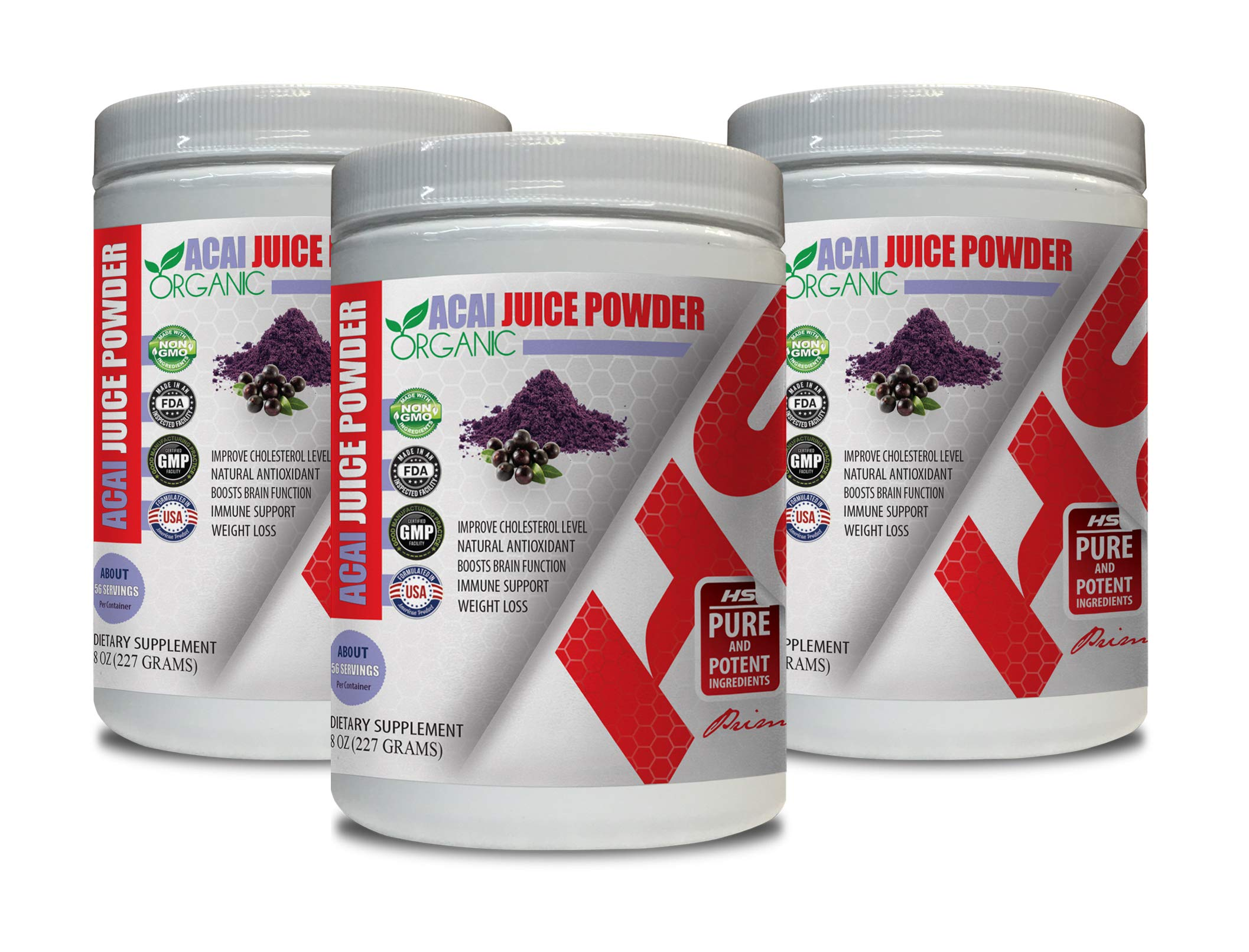 antioxidant Extreme Supplement - ACAI Juice Powder Organic - Natural ANTIOXIDANT - acai USA - 3 Cans 24 OZ (195 Servings)
