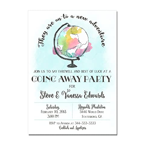 farewell party invitations going away party invitations with watercolor globe set of 10 invitations