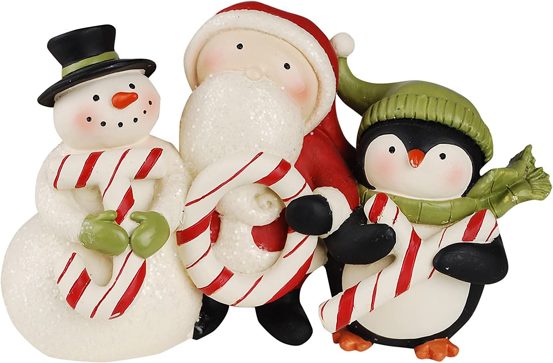 New Blossom Bucket #28491 Set of 3 Santa/'s standing on a snowball with HO HO HO