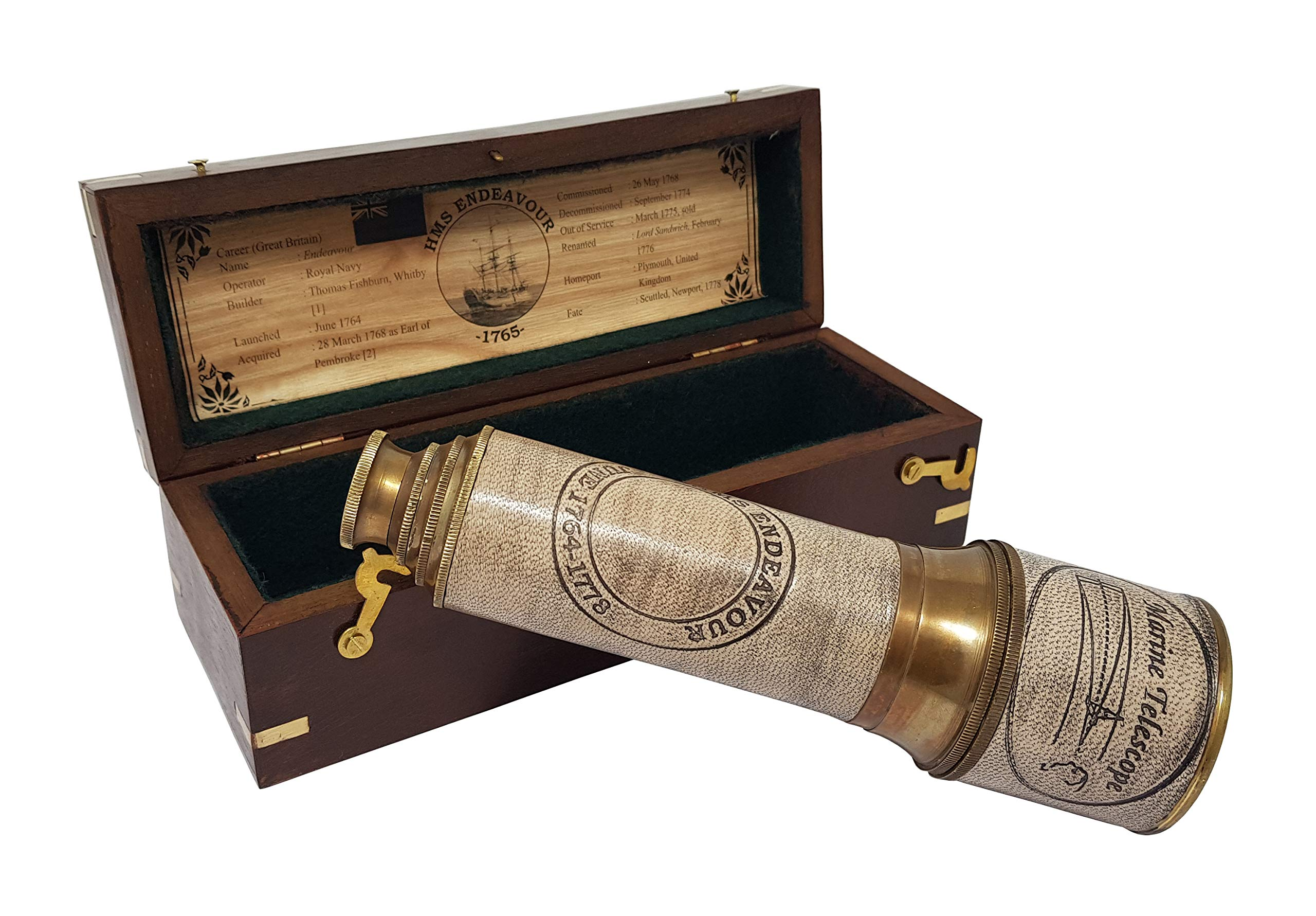 Brass Nautical - 18 inches Brass Ship Captain's Telescope Brass Spyglass in Hardwood Box by Brass Nautical