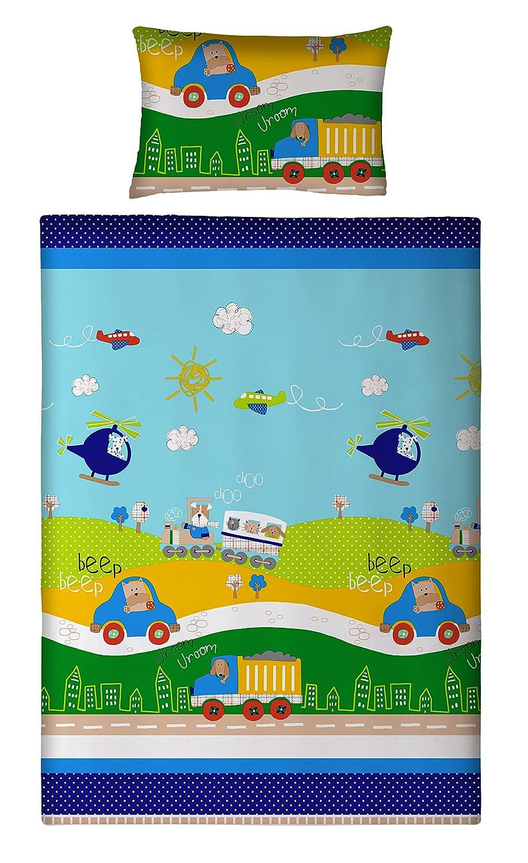 Aminata Kids - süße Kinder-Bettwäsche 100x135 cm Auto-Motiv LKW ...