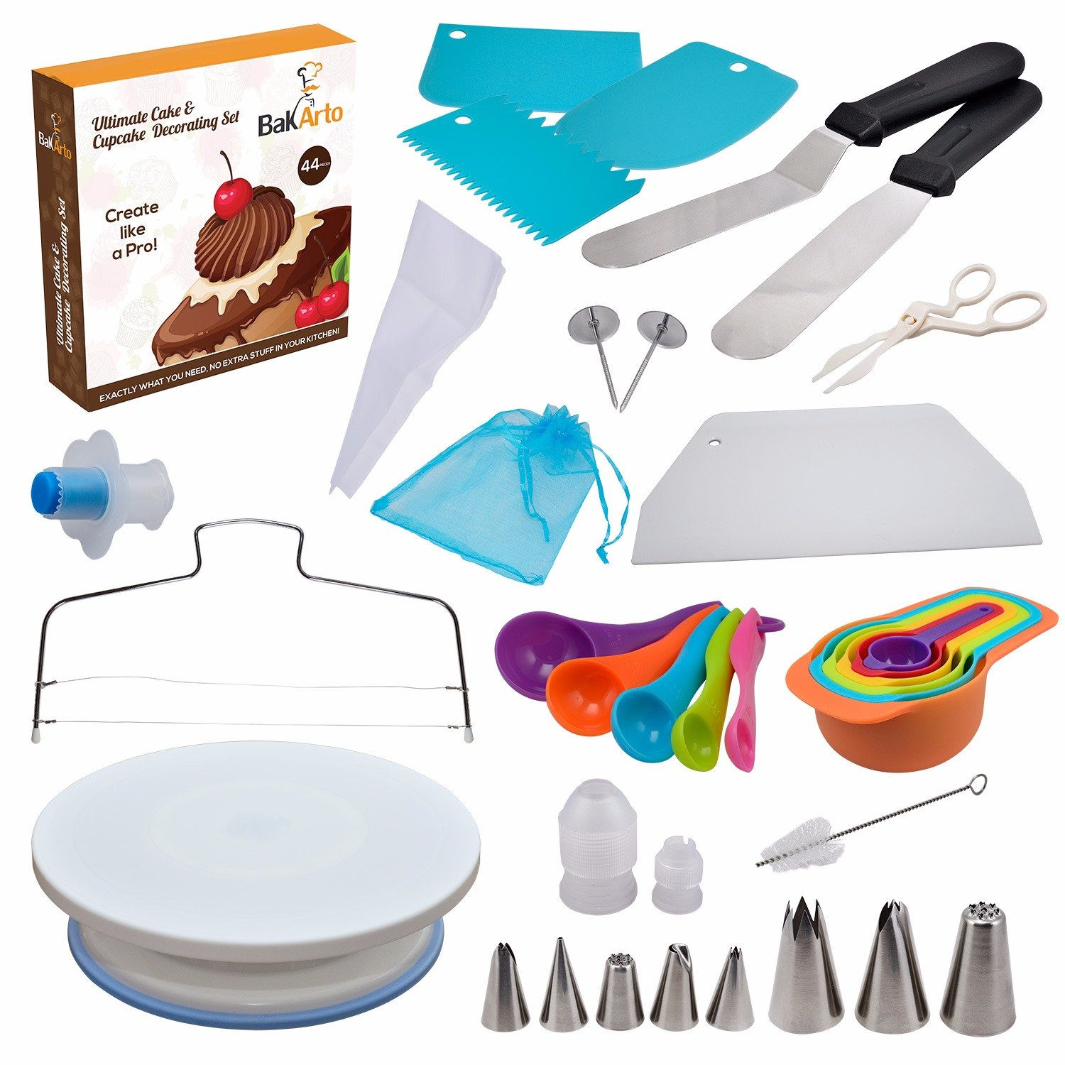 Ultimate All-in-one Cake Decorating Set for Cakes, Cupcakes, Baking Cookies and Pastries (44 Piece Decorating Set) by BakArto