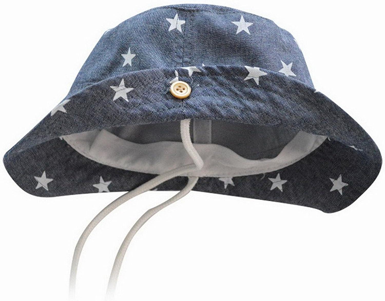 Dinokids unisex-baby 100/% Cotton Play Safari Sun Hats Bucket Reversible Brim Stars Drawstring