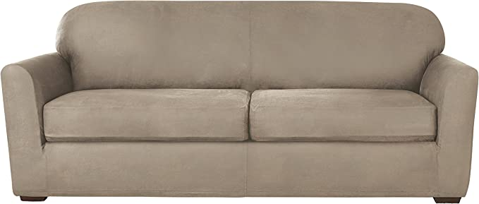 Sure Fit Ultimate Heavyweight Stretch Leather Individual 2 Cushion Sofa Slipcover - Rustic Birch
