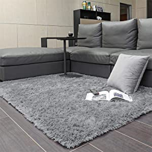 Ophanie Machine Washable Fluffy Area Rugs for Living Room, Ultra-Luxurious Soft and Thick Faux Fur Shag Rug Non-Slip Carpet for Bedroom, Kids Baby Room, Nursery Modern Decor Rug, 4x5.3 Feet Grey