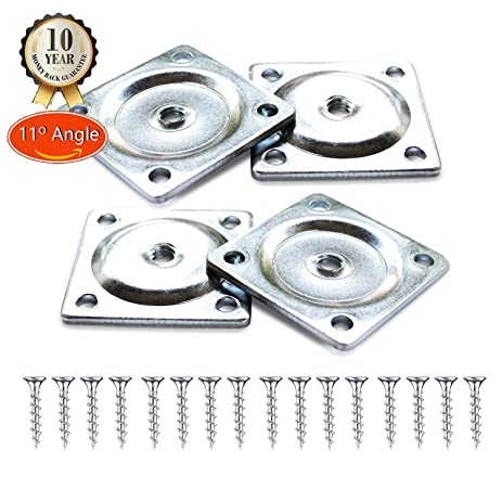 11 Degree Angle Furniture Legs Attachment Plates Industrial Strength  Mounting T Plate 5/