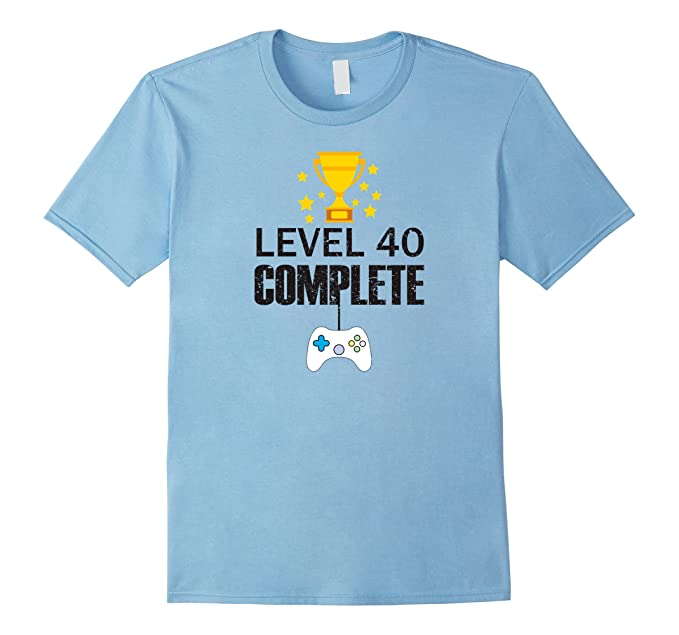 e5cb40312 Mens Funny Level 40 Complete T-shirt 40th Birthday Gamer Tee Gift 2XL Baby  Blue