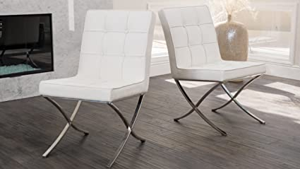 E Pandora Dining Furniture  Modern Corrected Grain Leather Chairs  White Set Of