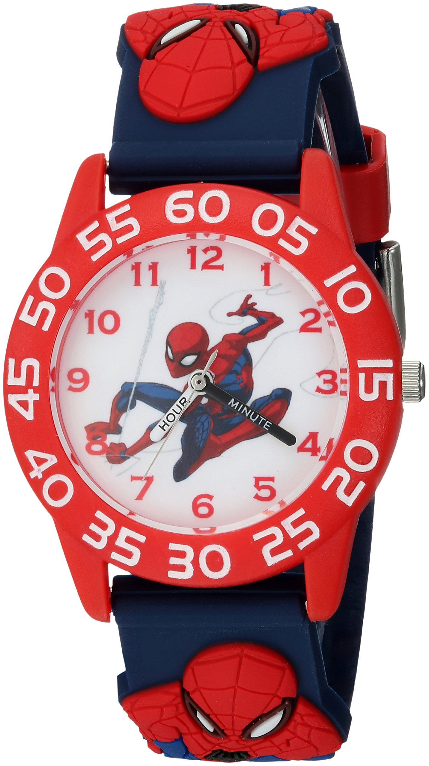 MARVEL Boys Spider-Man Analog-Quartz Watch with Plastic Strap, Blue, 16 (Model: WMA000169) by Marvel