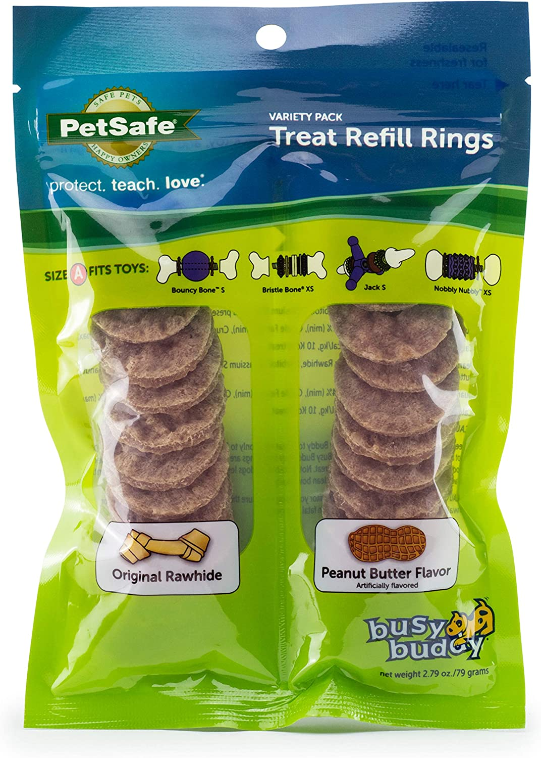 PetSafe Busy Buddy Rawhide Treat Ring Refills - Replacement Rings for PetSafe Treat Holding Toys - Size A, B, C - Multiple Flavors