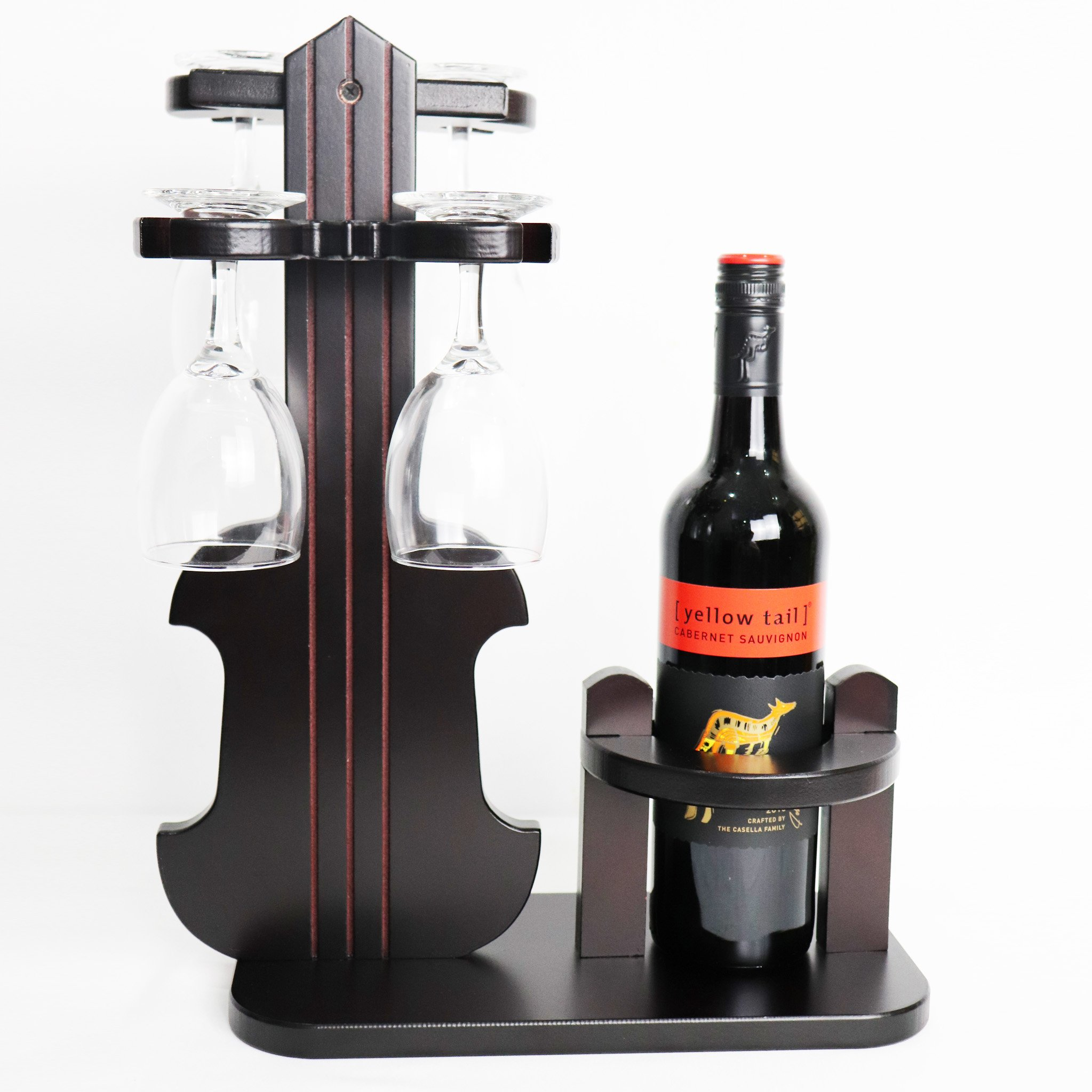 TUORUI Wine Glass Holder, Wine Rack Standing Table Top Wine Rack Decoration Simple assembly 1 Bottle 4 Long Stem Inverted Bottle Holder(Violin model) (Round Hole Diameter 8CM) by TUORUI