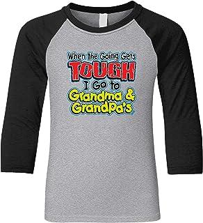 Amdesco When Going Gets Tough I Go to Grandma /& Grandpas Toddler Raglan Shirt