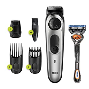 Braun Beard Trimmer BT5265, Hair Clipper for Men, 39 Length Settings, Black/Silver Metal