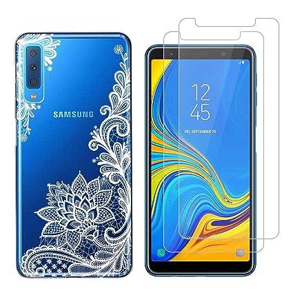 Funda Samsung Galaxy A7 2018 Flor Blanca Suave TPU Silicona Anti-rasguños Protector Trasero Carcasa para Samsung Galaxy A7 2018 (6.0 Pulgada) con Dos ...
