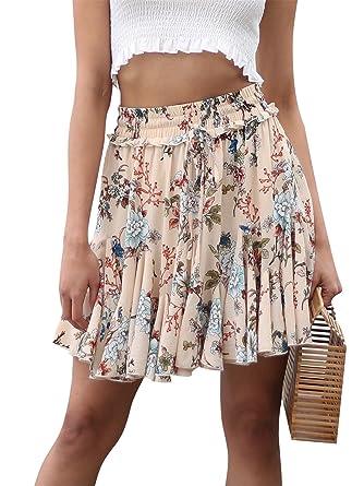 pretty nice dd8a5 c4d96 Terryfy Damen Sommer Röcke Kurz Sexy Schick Blumen A-Linien Plissierter  Mini Rock Skirt