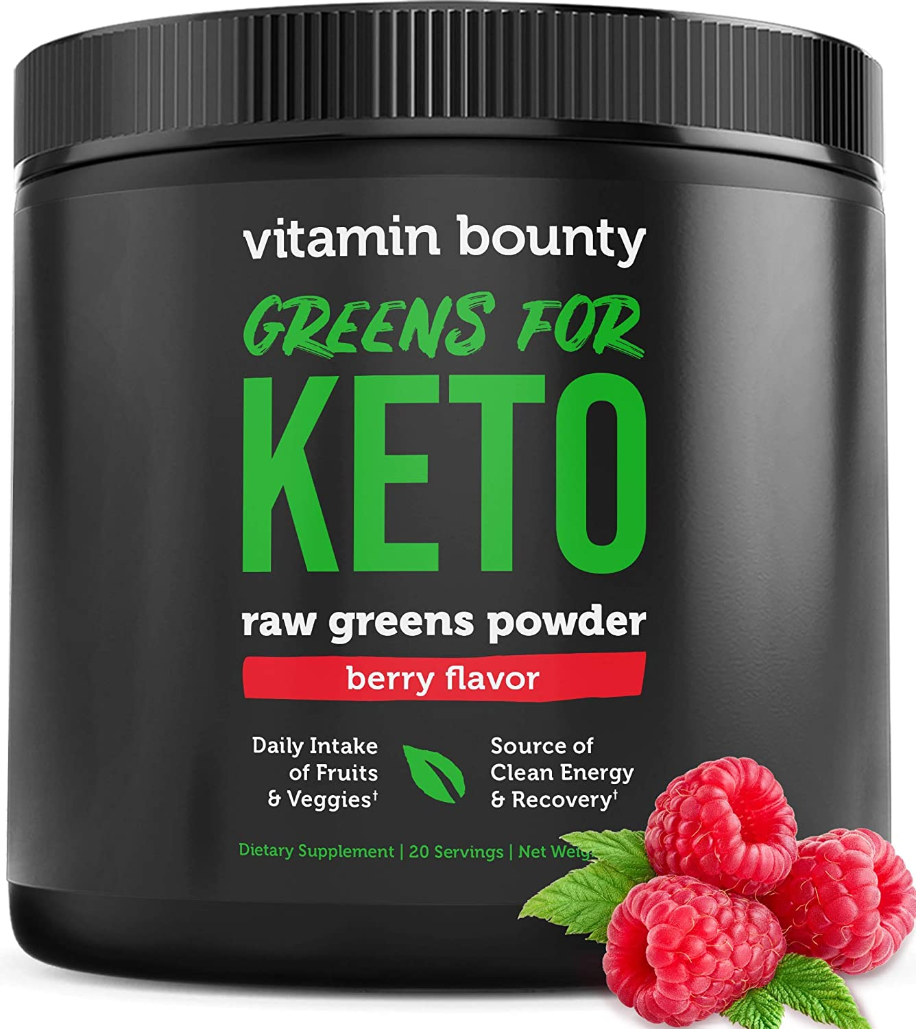 Greens for Keto - Berry Flavor Raw Greens Powder - only 3g net Carbs per Serving - Plant Based Food Fruit & Vegetable Blend - Vitamin Bounty