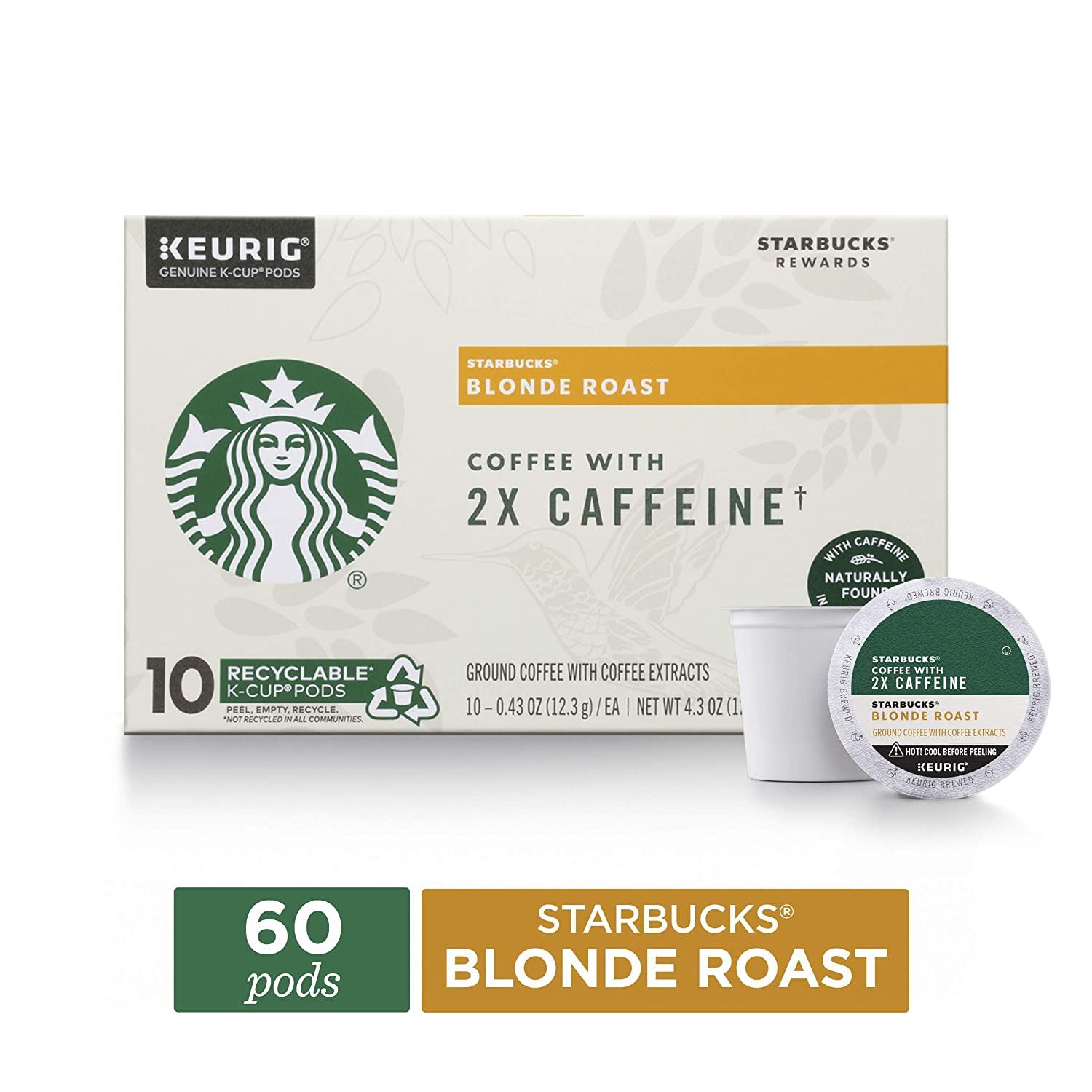 Starbucks Blonde Roast K-Cup Coffee Pods with 2X Caffeine — for Keurig Brewers — 6 boxes (60 pods total)