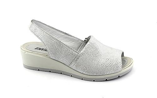 ENVAL 1281744 argento sandali donna soft suola gomma flessibile elastico