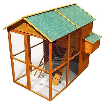 Gallinero con gran zona exterior, Enclos para gallinas madera betún techo en jaula: Amazon.es: Jardín
