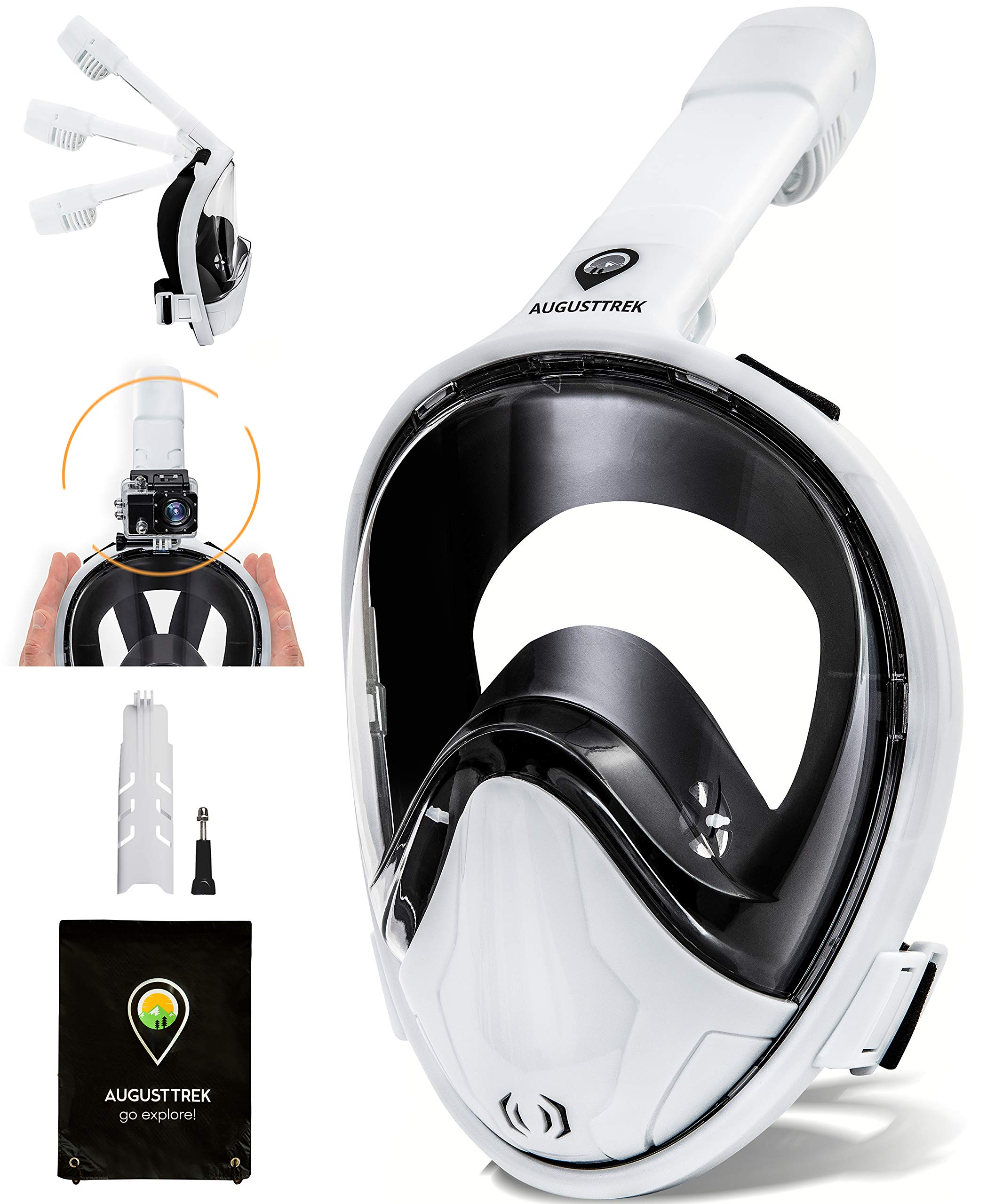 AugustTrek ONE80 GoPro Compatible Snorkel Mask - Full Face Design, Foldable Tube and Upgraded Wide 180° Lens, Largest in Market. Breathe Comfortably with Enhanced Easy Breathing Technology. by AugustTrek
