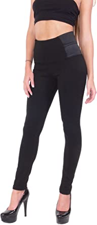 Women S High Waisted Black Quality Leggings Dress Pants Jeggings With Elastic Design On The Sides At Amazon Women S Clothing Store