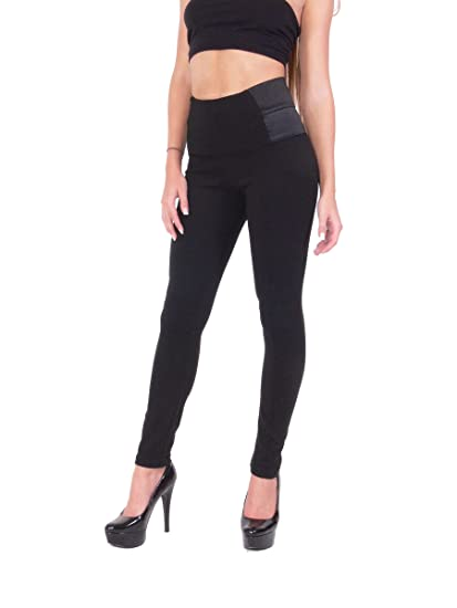 3497295f8484b Khanomak Women's High Waisted Black Thick Leggings Dress Pants Jeggings  with Elastic Design on The Sides (X-Small, Black) at Amazon Women's Clothing  store: