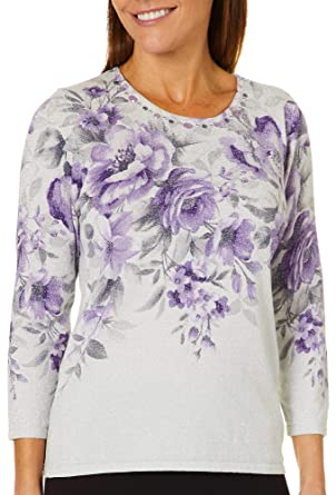 Amazoncom Alfred Dunner Womens Petite Floral Shimmer Sweater