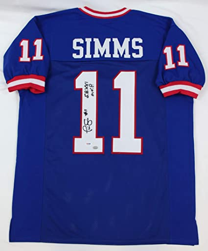 Phil Simms Blue New York Giants Jersey Hand Signed By Phil